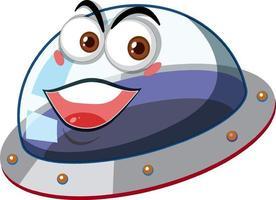 ufo con l'espressione del viso felice su sfondo bianco vettore