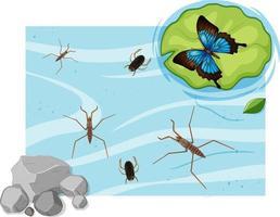 vista dall'alto di insetti acquatici nello stagno vettore