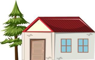 una piccola casa con un albero isolato su sfondo bianco vettore