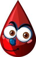 goccia di sangue rosso con espressione facciale vettore