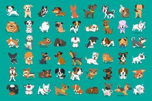 diversi tipi di cani del fumetto di vettore per il design.