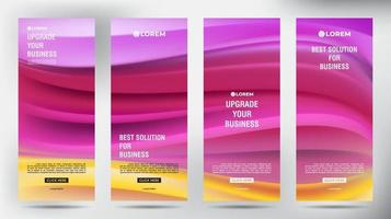 mesh flusso di colore roll up brochure aziendale flyer banner set vettore