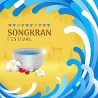 banner di celebrazione del festival dell'acqua di songkran vettore