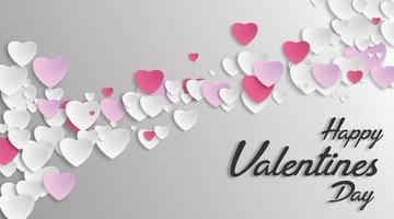 amo il design del cuore in stile taglio carta. illustrazione vettoriale. per lo sfondo di San Valentino