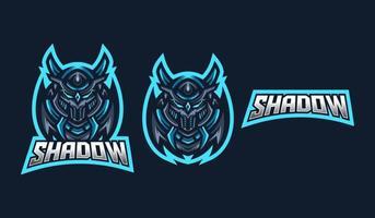 modello di logo mascotte di gioco ninja esport per squadra di streamer. esport logo design con stile moderno concetto di illustrazione per la stampa di badge, emblemi e magliette vettore