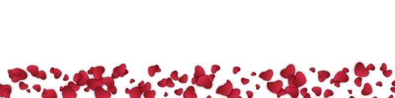 felice giorno di San Valentino banner. arte di carta, amore e matrimonio. cuore di carta rosso isolato sfondo bianco. illustrazione di disegno vettoriale
