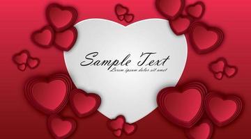 cuori di carta su sfondo rosso. simboli di amore per la progettazione di biglietti di auguri di San Valentino felice. illustrazione vettoriale.