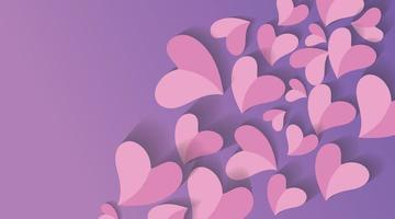 disegno di carta di arte del cuore per lo sfondo di san valentino. illustrazione di disegno vettoriale