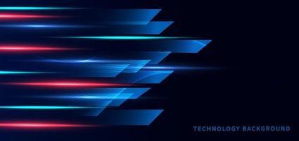 modello banner tecnologia astratta futuristica geometrica su sfondo blu dard con effetto luce rossa e blu. vettore