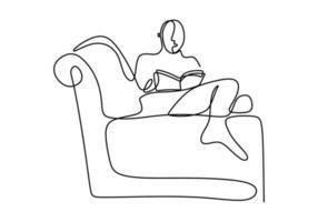 un disegno a tratteggio continuo di un giovane adolescente felice riposarsi sdraiandosi sul divano divano durante la lettura del libro. godendo il concetto di tempo linea singola disegnare segno design vettore