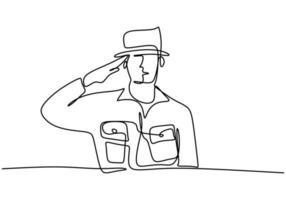 continuo un disegno a linea singola di un maggiore della polizia. ufficiale di polizia con l'uniforme. vettore
