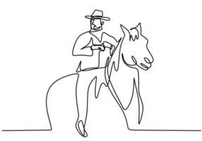una linea di disegno continuo giovane con un cappello da cowboy a cavallo. uomini anziani pongono eleganza a cavallo concetto minimalista isolato su sfondo bianco. design moderno di tiraggio della mano vettore