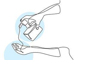 mano continua di un disegno a tratteggio che tiene liquido sop. disinfettante per le mani per pulire le mani per evitare i virus covid-19. lavati le mani. antisettico in bottiglia isolato su sfondo bianco vettore