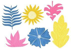 fiori colorati e foglie, struttura della foresta