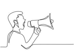 una linea continua tracciava un uomo che parlava in un altoparlante. un maschio parlava eccitato mentre teneva il megafono. il concetto di annuncio, ammonimento, oratoria, eloquenza, dichiarazione forte, pubblicità vettore