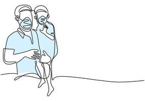 continuo un disegno a tratteggio padre e figlio. papà e suo figlio con maschera protettiva per prevenire l'infezione da virus. abituarsi a vivere sano e pulito in una nuova normalità. covid19. illustrazione vettoriale