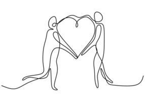 un disegno a tratteggio continuo delle mani che mostrano il segno di amore. mani donna e uomo che tengono insieme minimalismo design isolato su sfondo bianco. concetto di storia d'amore. illustrazione vettoriale