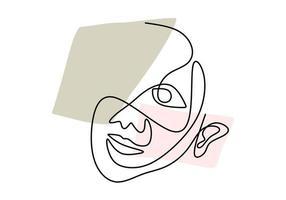 linea continua, disegno di facce, concetto minimalista di moda, illustrazione vettoriale. donna viso astratto disegnato a mano isolato su sfondo bianco. ritratto una donna in moderno stile astratto vettore