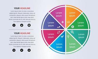colorato 8 passaggi cerchio infografica con colori sfumati vettore