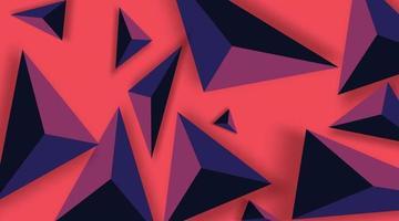 sfondo astratto con triangoli neri. realistico e 3d. illustrazione vettoriale su sfondo rosso.