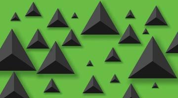 sfondo astratto con triangoli neri. realistico e 3d. illustrazione vettoriale su sfondo verde.