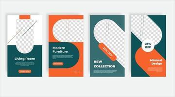 banner modello di post sui social media di interior design vettore