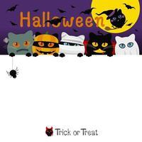 disegno della bandiera del costume dei gatti di Halloween con lo spazio della copia