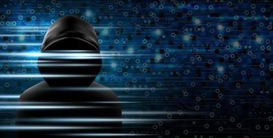 concetto di sicurezza informatica di hacker e sfondo tecnologico vettore