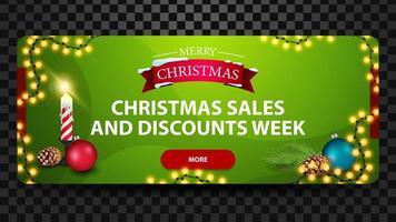 Vendite di Natale e settimana di sconto, banner web moderno orizzontale luminoso verde con pulsante, candela di Natale, palla di Natale e cono vettore