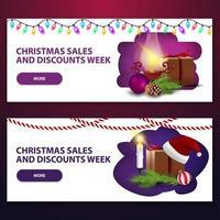 vendite natalizie e settimana di sconti, due striscioni bianchi di sconto vettore