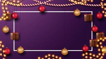 modello di Natale con copia spazio. modello con parete con decorazioni natalizie vettore