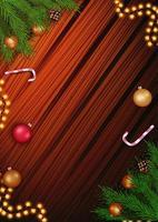 modello di Natale per le tue arti con copia spazio, ghirlanda, ramo di un albero di Natale e bastoncino di zucchero sullo sfondo di legno vettore