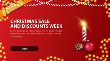 vendite natalizie e settimana di sconti, moderno banner rosso sconto in stile minimalista con candela natalizia vettore