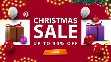 saldi natalizi, fino a 30, banner sconto rosso con regali di natale, ghirlande e palloncini vettore