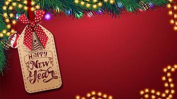 modello rosso per biglietto di auguri con copia spazio, bellissime scritte sul cartellino del prezzo, albero di Natale e ghirlanda vettore
