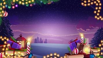 modello di natale di vettore con ghirlanda, ramo di un albero di natale e regali sul paesaggio invernale