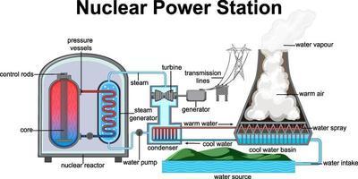 diagramma che mostra la centrale nucleare vettore