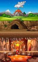 eruzione del vulcano nella scena della foresta naturale durante il giorno e la scena della grotta e la scena della grotta infernale vettore