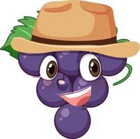 personaggio dei cartoni animati di uva con espressione facciale vettore