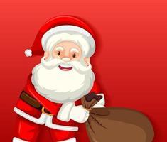 simpatico personaggio dei cartoni animati di Babbo Natale con borsa su sfondo rosso vettore