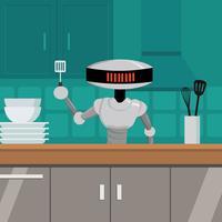 ai robot illustrazione di chef vettore