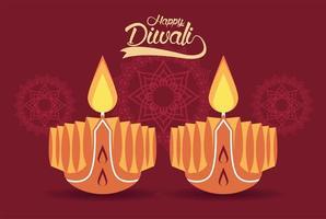 felice celebrazione di diwali con due candele e mandala