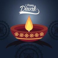 felice celebrazione di diwali con candela e mandala in sfondo blu