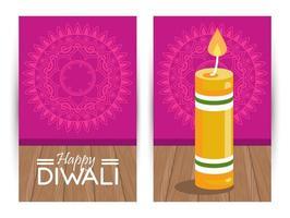 felice celebrazione di diwali con candela e scritte