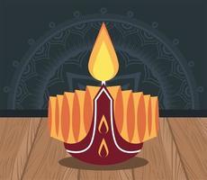 felice celebrazione di diwali con candela