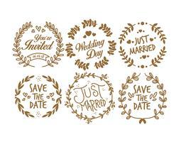 Timbro di matrimonio vintage vettore
