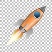 lancio di un razzo arancione vettore