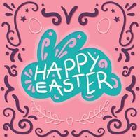vintage felice Pasqua scritte in coniglio vettore
