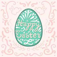 lettering vintage felice di Pasqua in uovo con conigli vettore