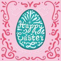 scritta vintage felice pasqua in uovo con conigli. vettore
